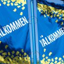 Blue Banner With Yellow Trim