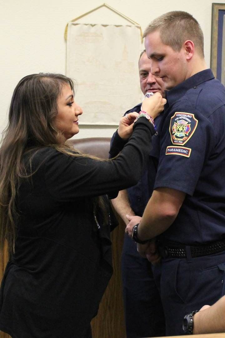 Cassel  getting Pinned at Swearing In Ceremony